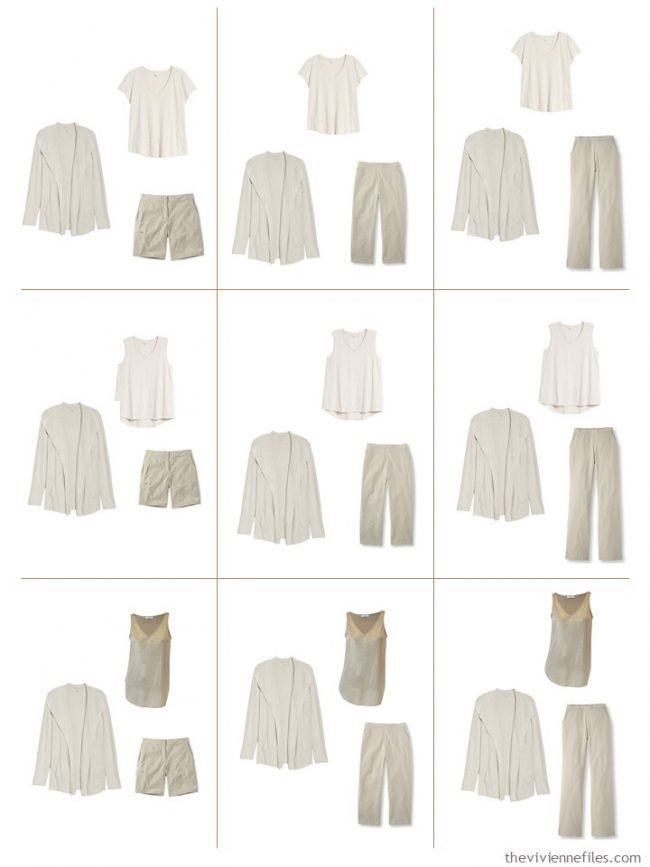 5. 9 outfits from a mostly beige Common Wardrobe