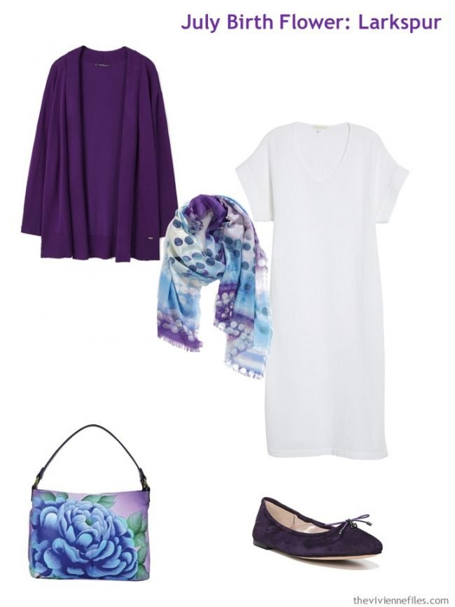 5. accenting a white dress with purple