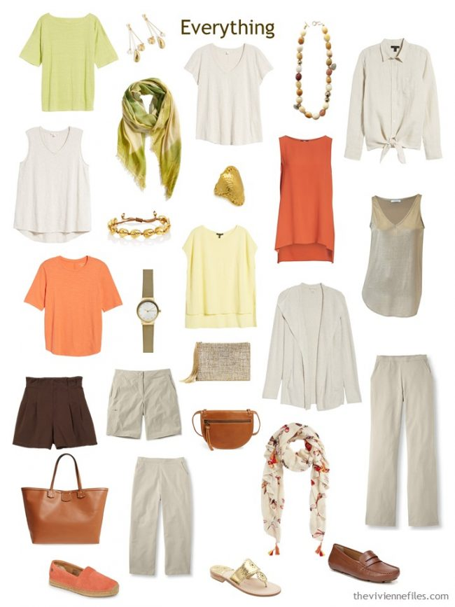 5. travel capsule wardrobe in beige with accessories