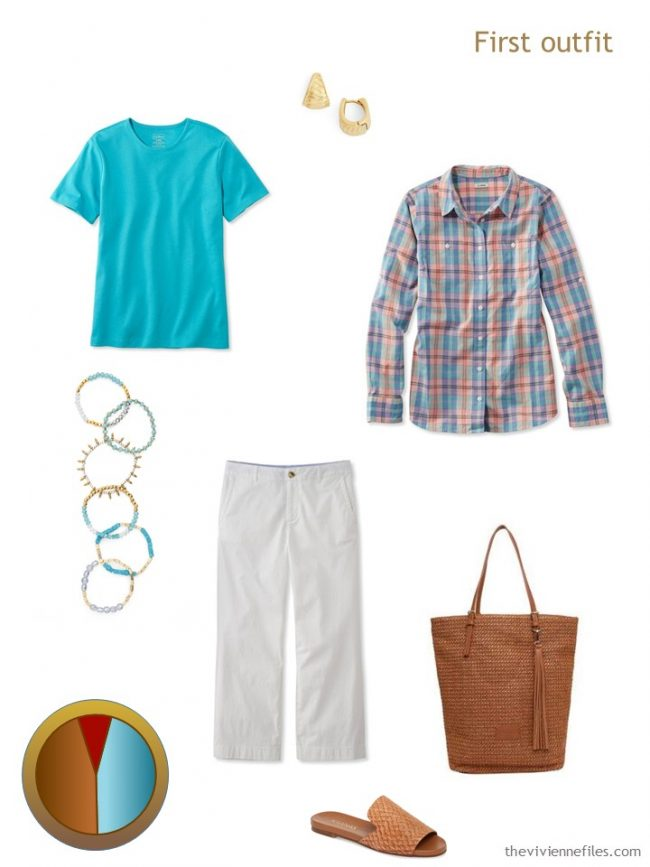 5. turquoise and white outfit from a travel capsule wardrobe
