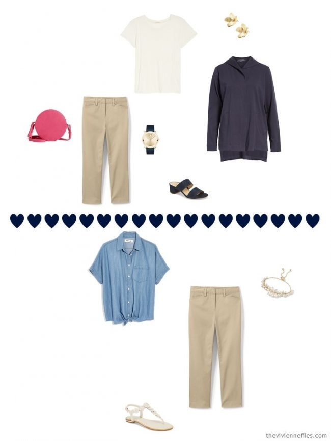 2 ways to wear khaki capris from a travel capsule wardrobe