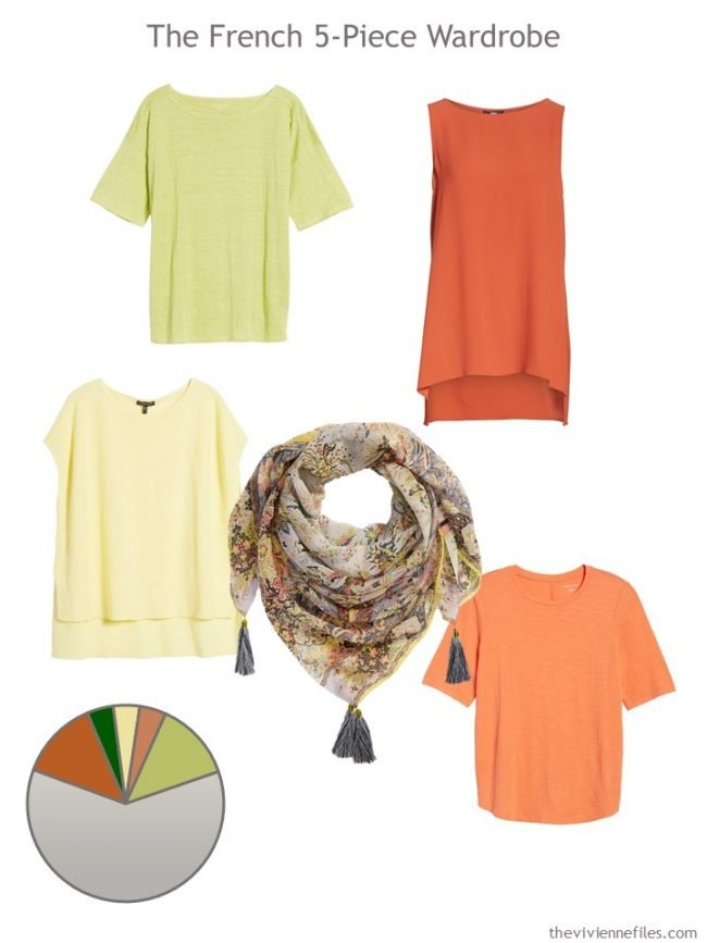6. 5-Piece French Wardrobe in orange, yellow and green