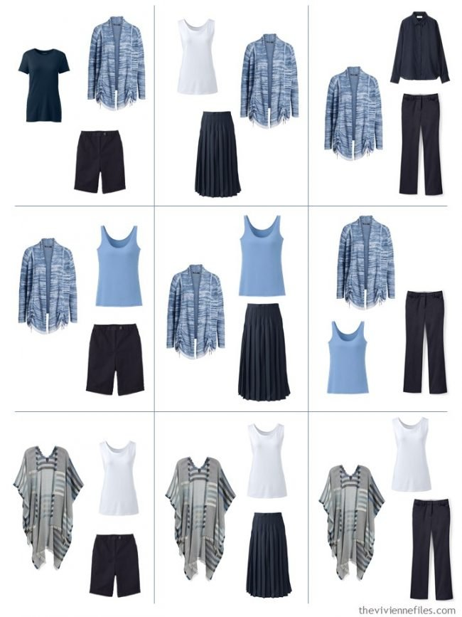 6. 9 outfits using a French 5-Piece Wardrobe in Cool Sky Blue