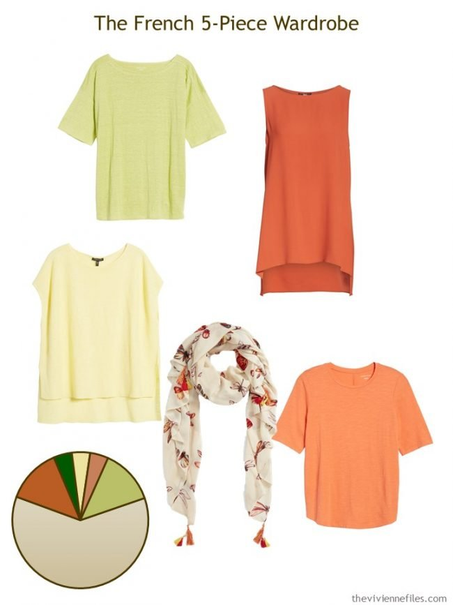 6. French 5-Piece Wardrobe in shades or orange, green and yellow