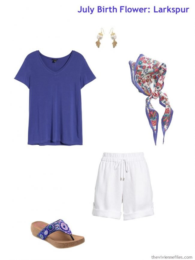 6. a purple tee shirt with white shorts
