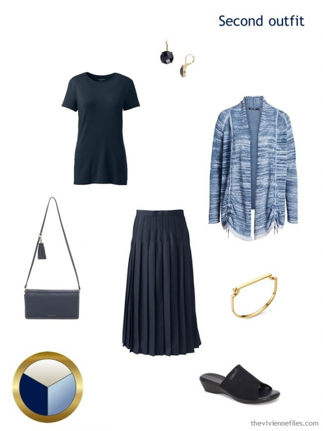 6. navy tee and skirt with blue cardigan