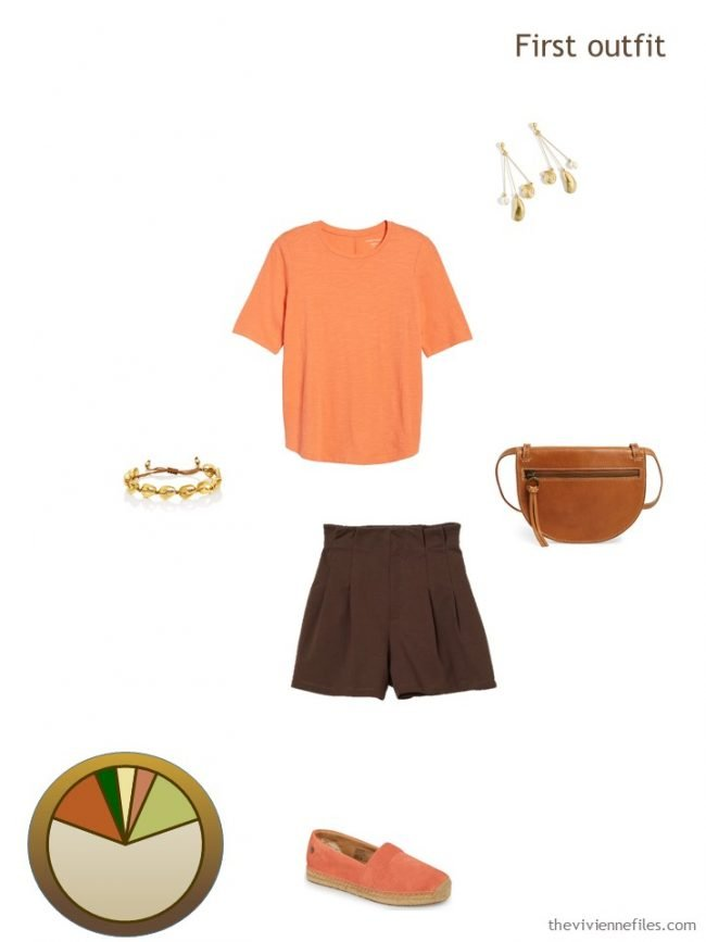 6. orange and brown summer outfit from a travel capsule wardrobe