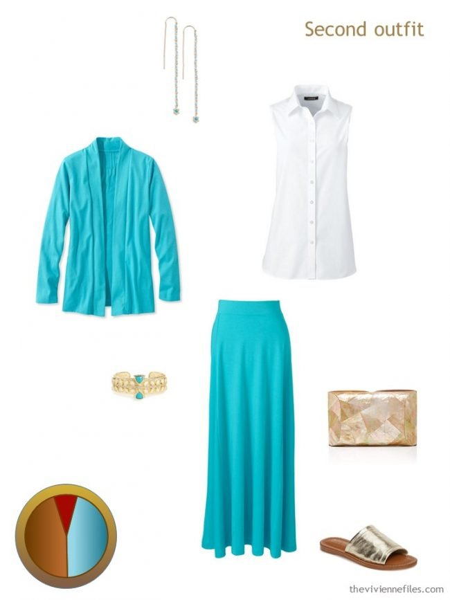 6. turquoise and white outfit form a travel capsule wardrobe