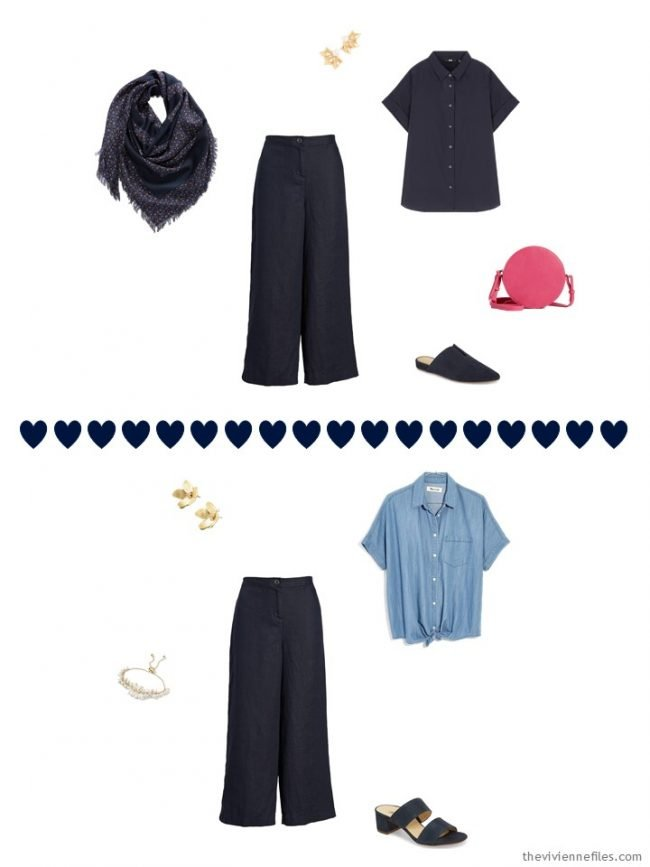 2 ways to wear navy linen pants from a travel capsule wardrobe