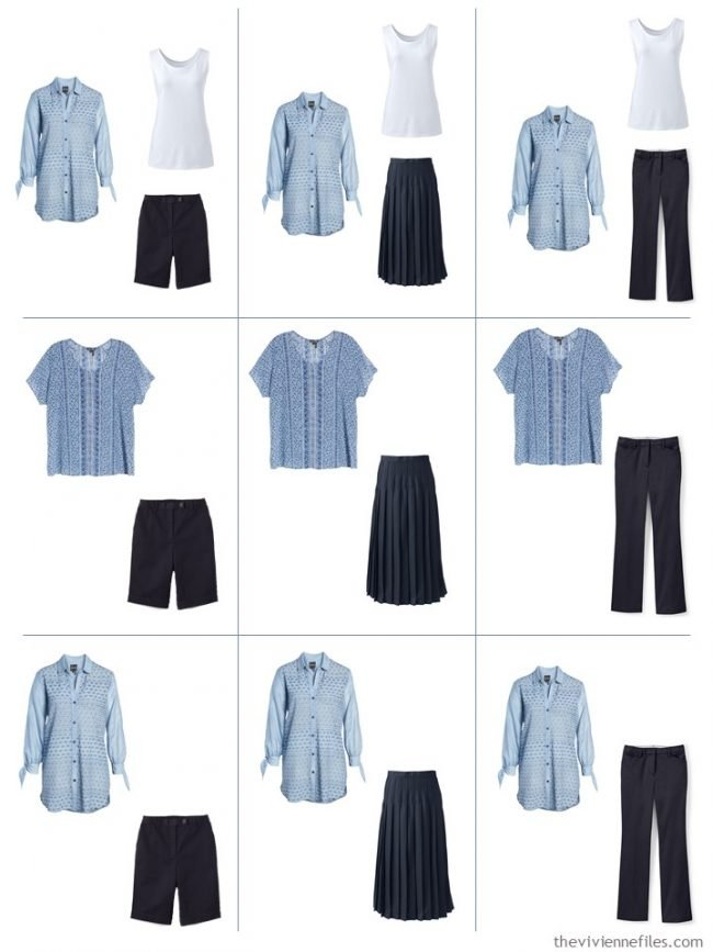 7. 9 outfits combining cool sky blue and navy