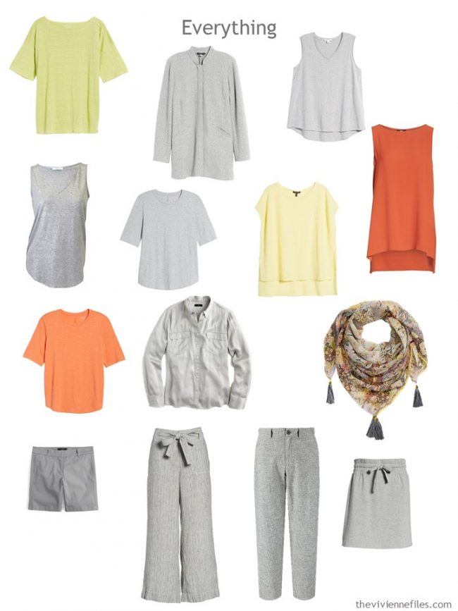 7. A travel capsule wardrobe in grey with yellow, orange and yellow