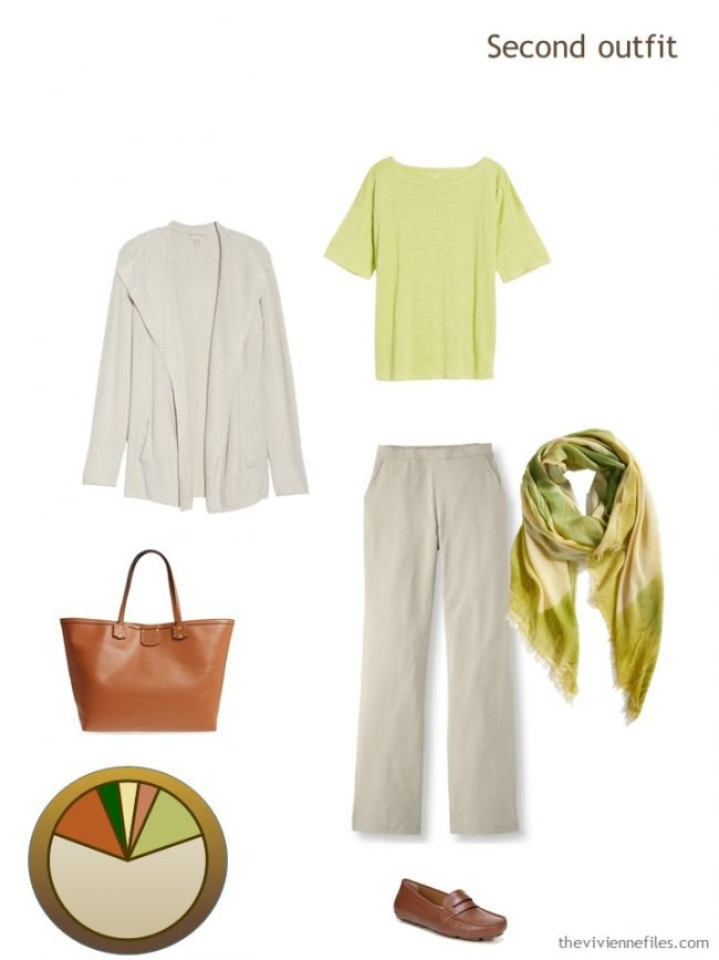 7. beige and lime outfit from a travel capsule wardrobe