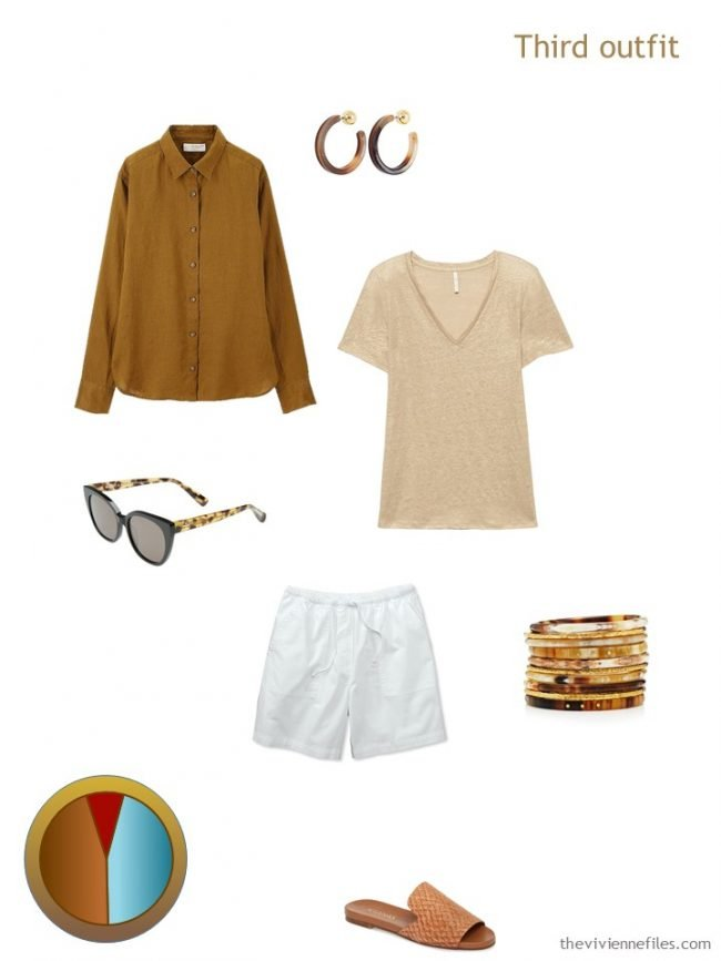 7. brown, gold and white outfit from a travel capsule wardrobe