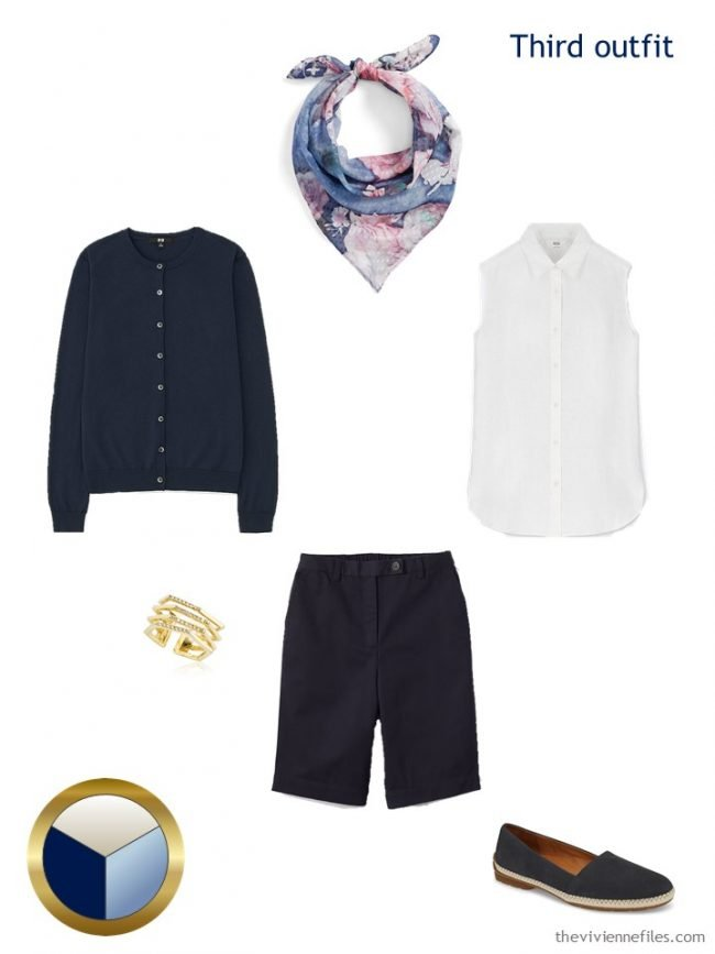 7. navy and white shorts outfit