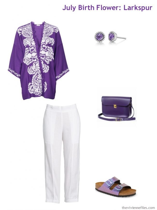 7. purple tunic with white linen pants