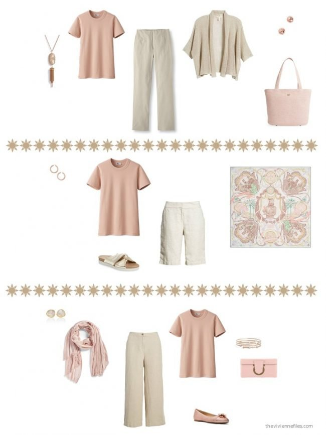 8. 3 ways to wear a blush tee shirt in a capsule wardrobe