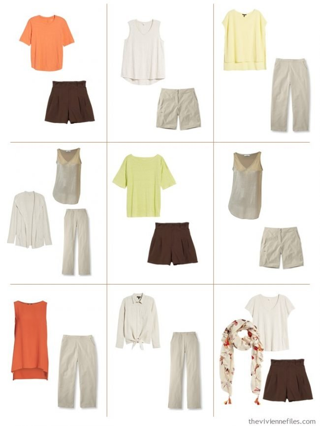 8. 9 outfits from a beige with citrus accents travel capsule wardrobe
