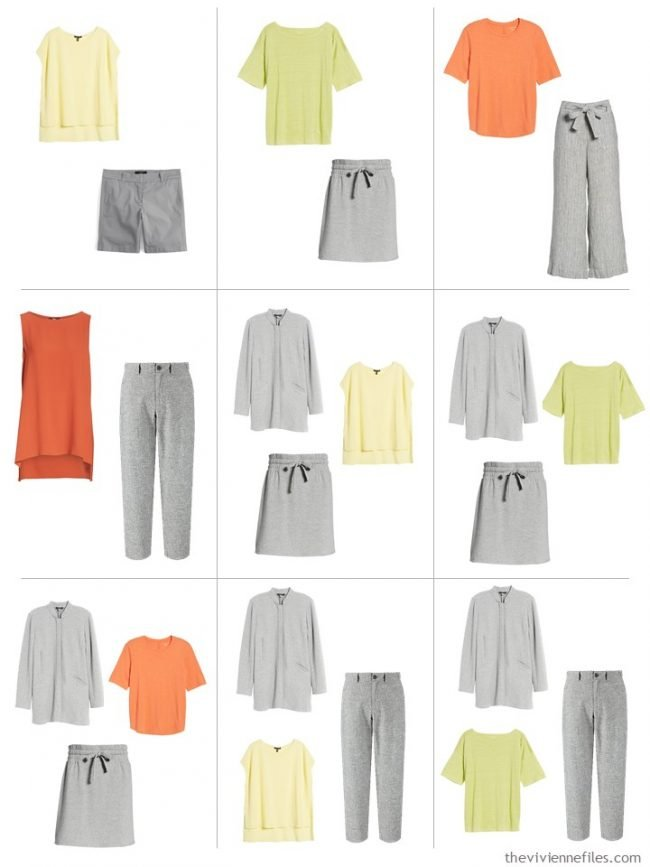 8. 9 outfits from a travel capsule wardrobe in grey with citrus accent colors