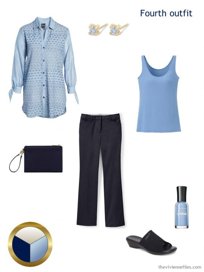8. navy and light blue outfit