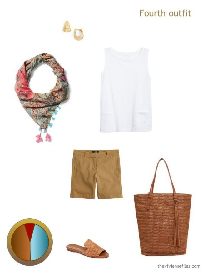 8. rust brown and white outfit from a travel capsule wardrobe