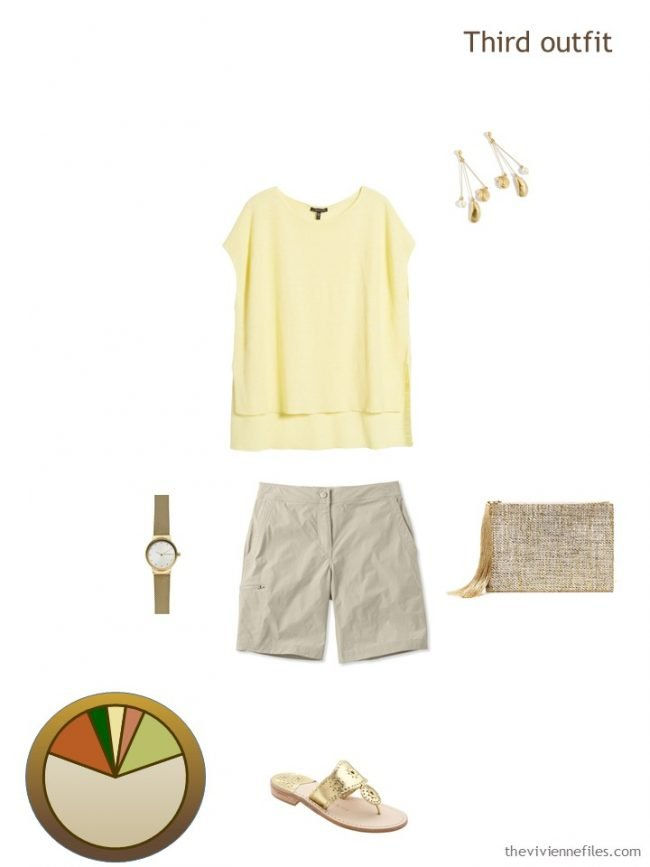 8. yellow and beige outfit from a travel capsule wardrobe