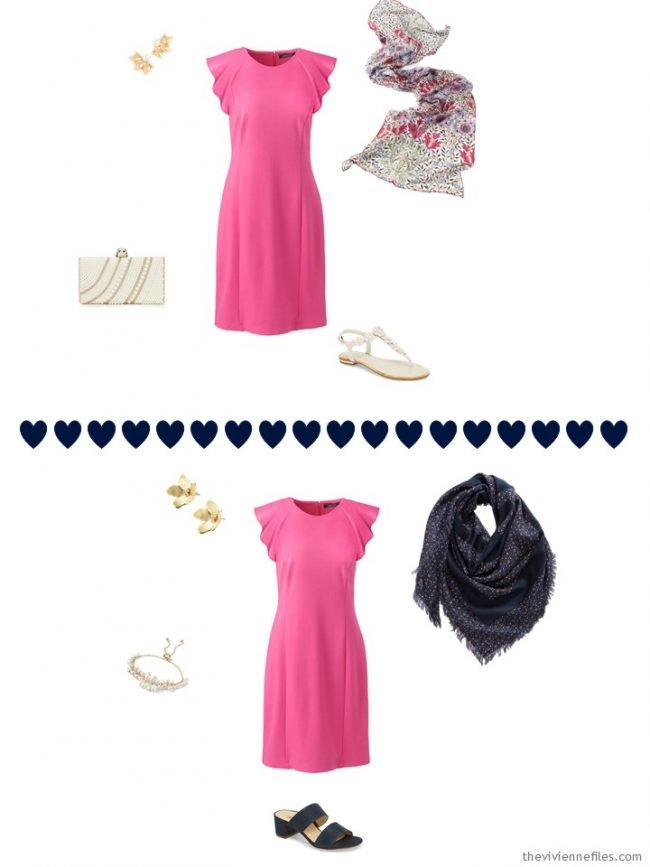 2 ways to wear a pink dress from a travel capsule wardrobe