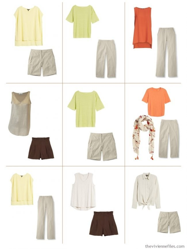 9. 9 outfits from a beige, green, orange and yellow travel capsule wardrobe