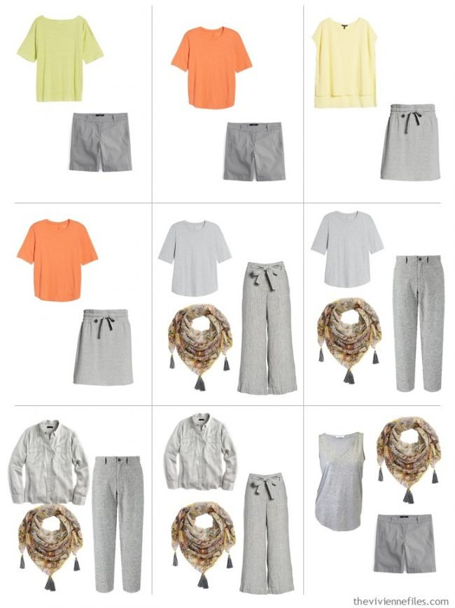 9. 9 outfits from a travel capsule wardrobe in grey with orange, yellow and green accent colors
