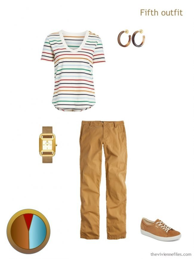 9. brown and multi outfit from a travel capsule wardrobe