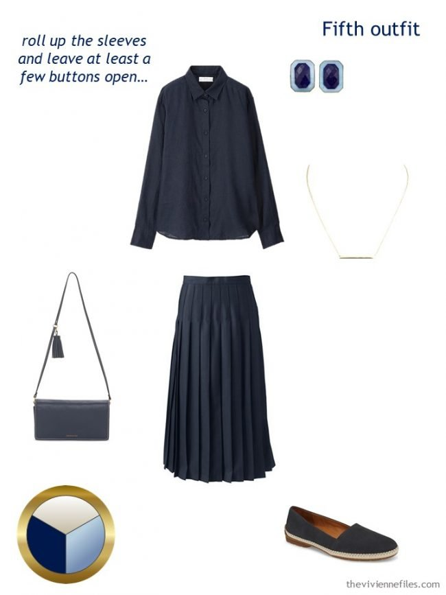 9. navy shirt and skirt outfit