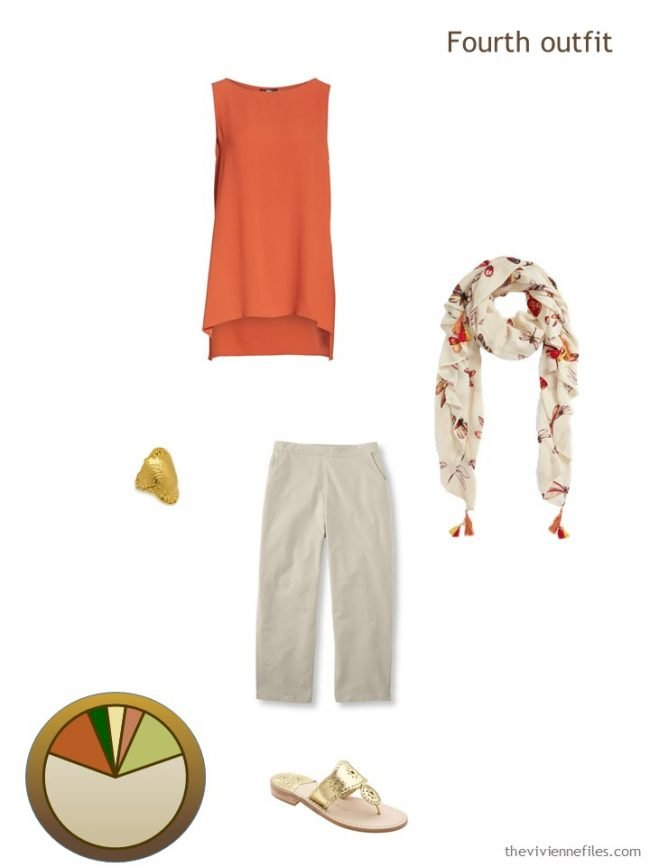 9. orange and beige outfit from a travel capsule wardrobe