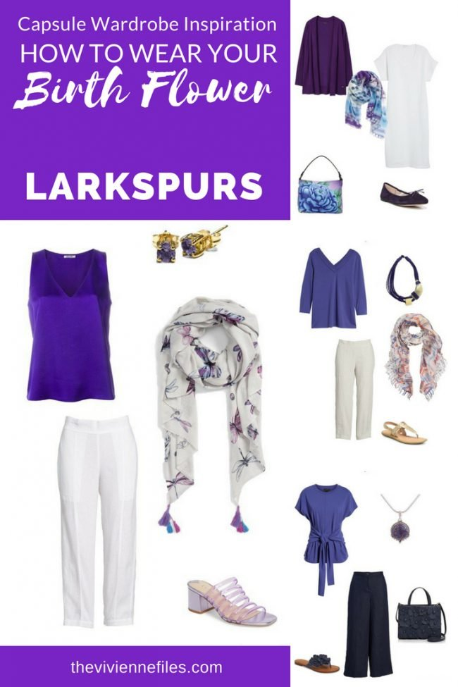 A CAPSULE WARDROBE INSPIRED BY LARKSPURS - THE BIRTH FLOWER FOR JULY