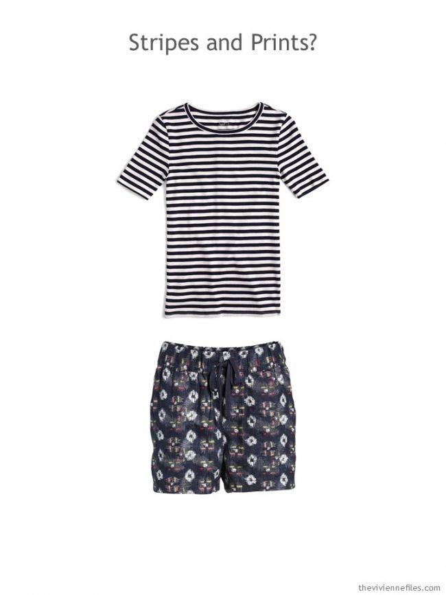 1. navy striped tee and navy print shorts