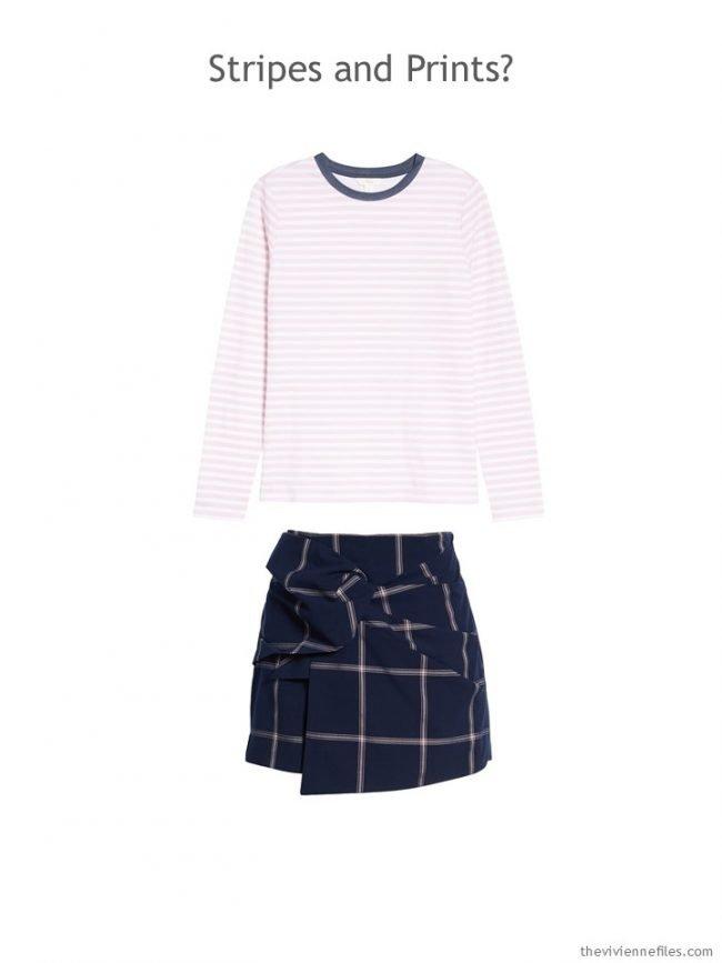 10. pink striped tee and navy & pink print skort