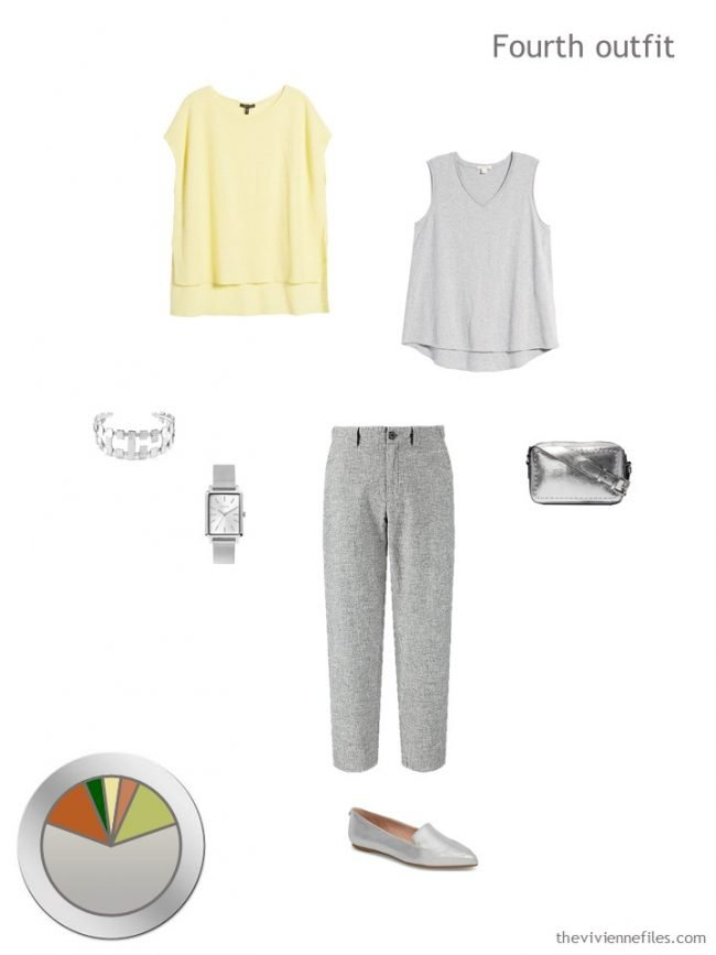 10. yellow and grey tops with grey pants and accessories