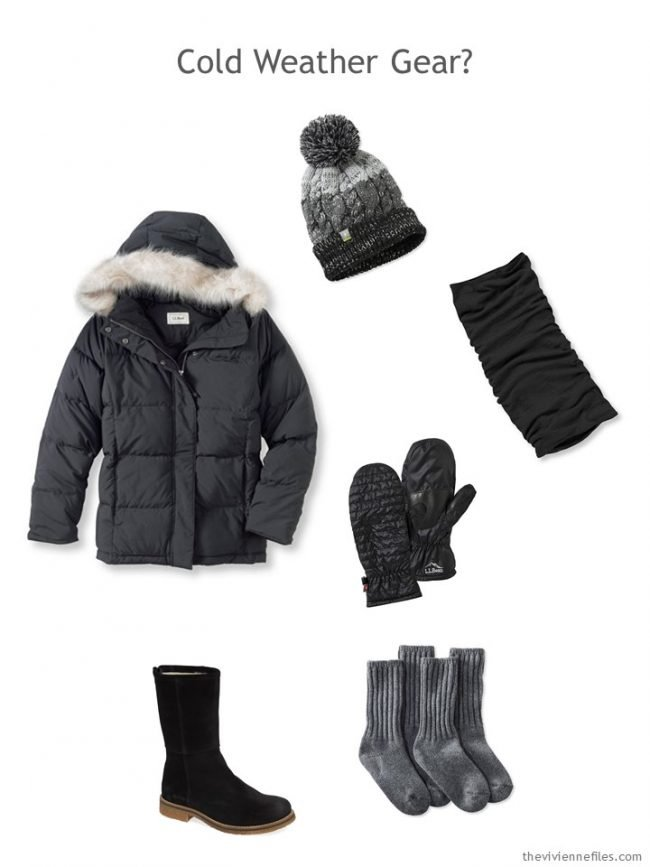 11. black parka and winter accessories