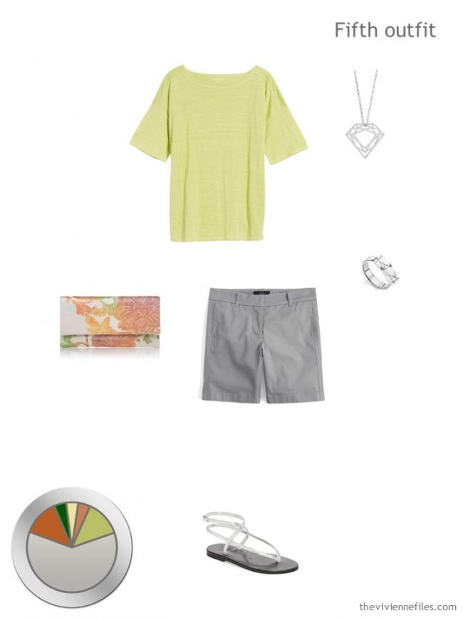 11. green tee with grey shorts and accessories