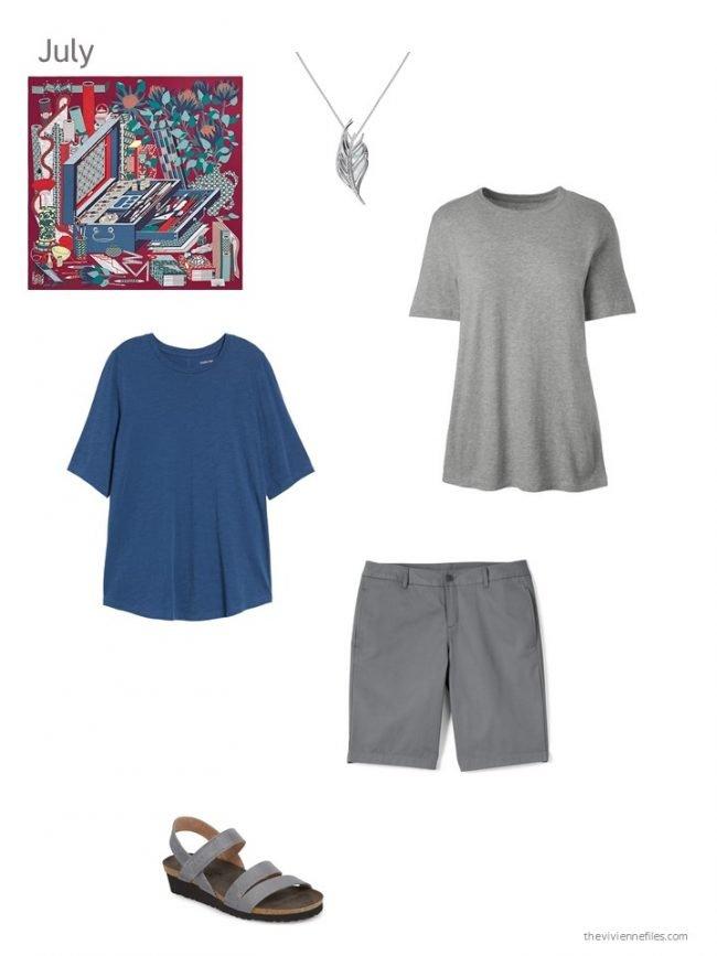 11.blue tee shirt, grey tee, grey shorts