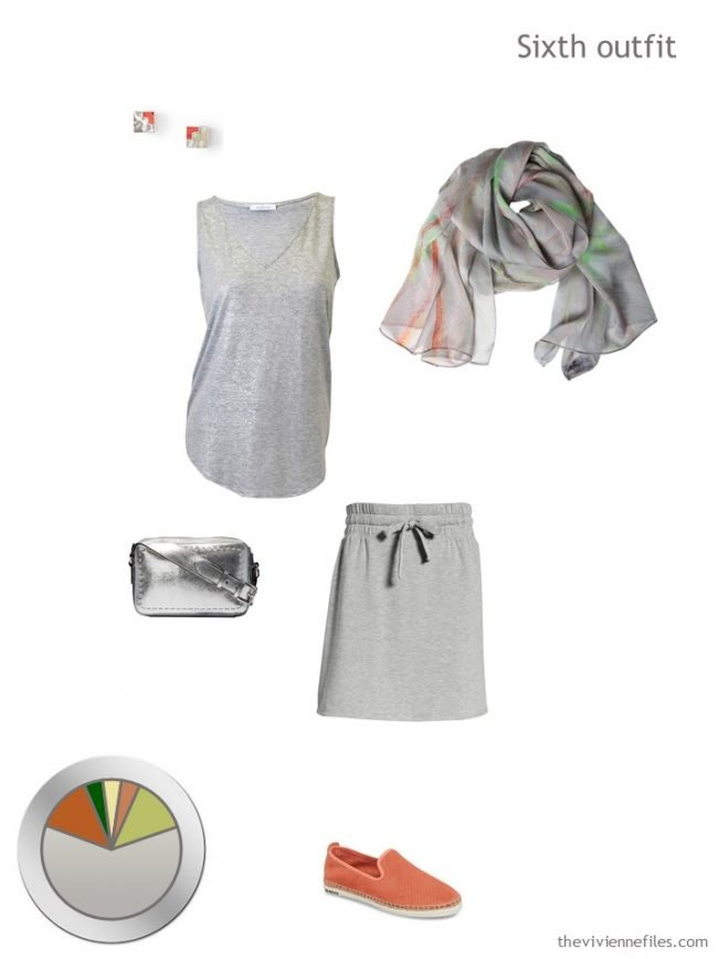 12. silver tank, grey skirt and accessories