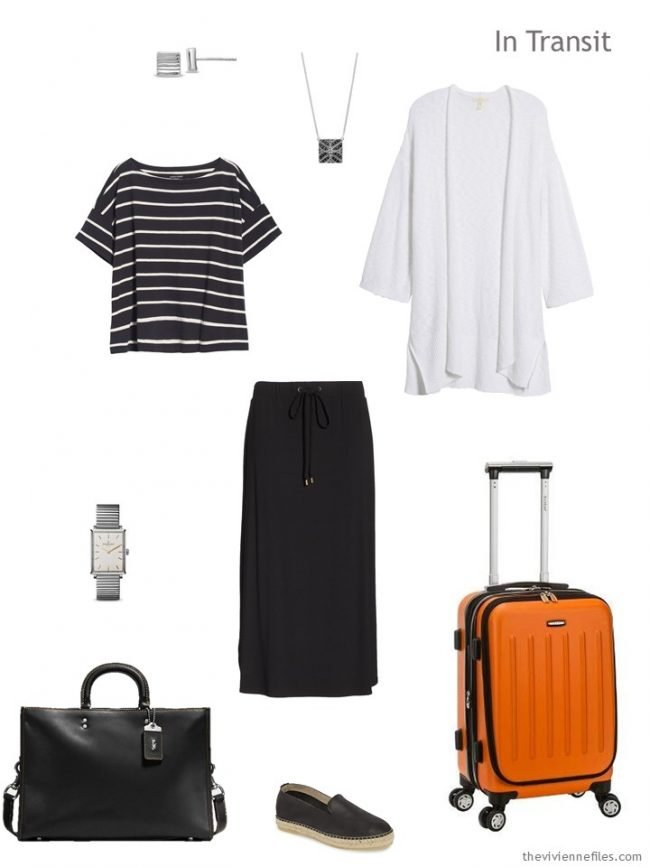 2. black and white travel outfit