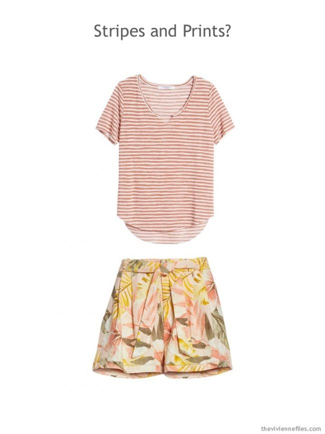 2. coral striped tee and coral print shorts