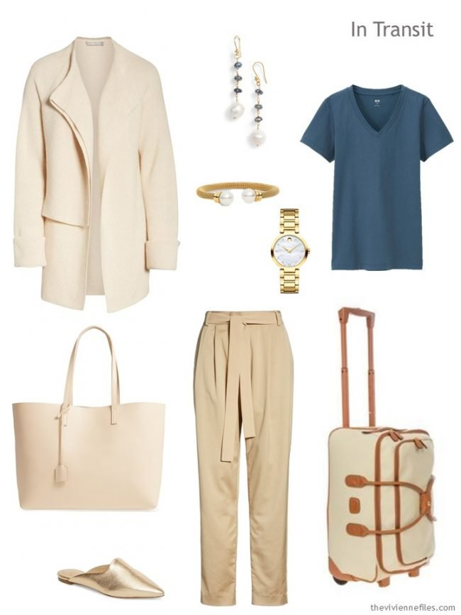 2. travel outfit in beige and blue