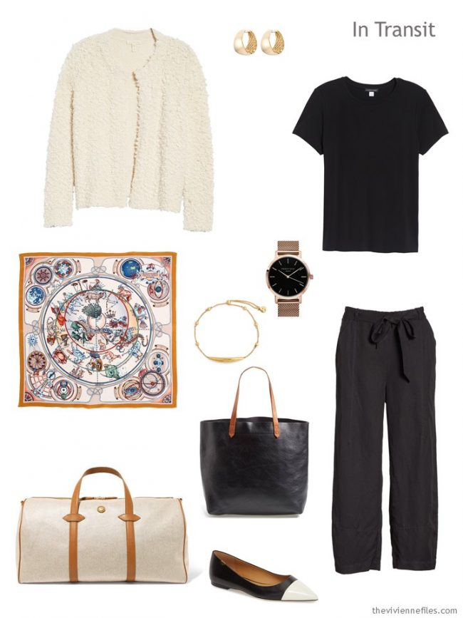 2. travel outfit in black and ivory
