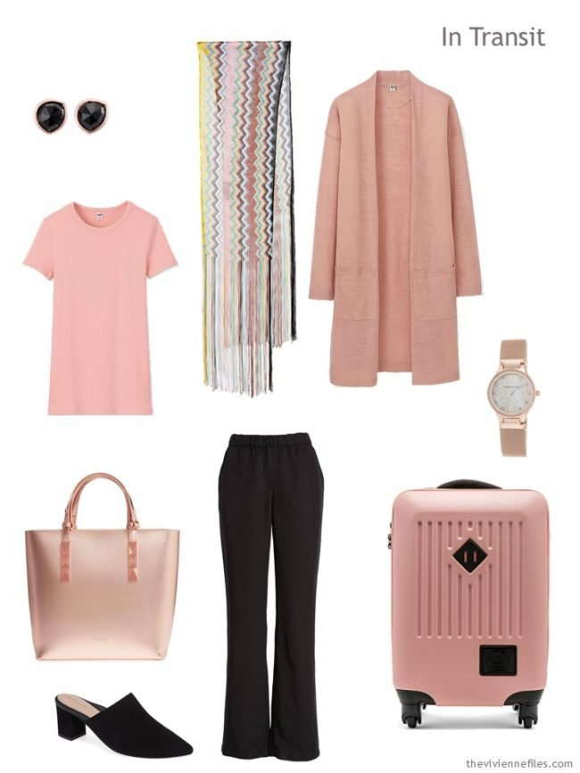 2. travel outfit in blush pink and black
