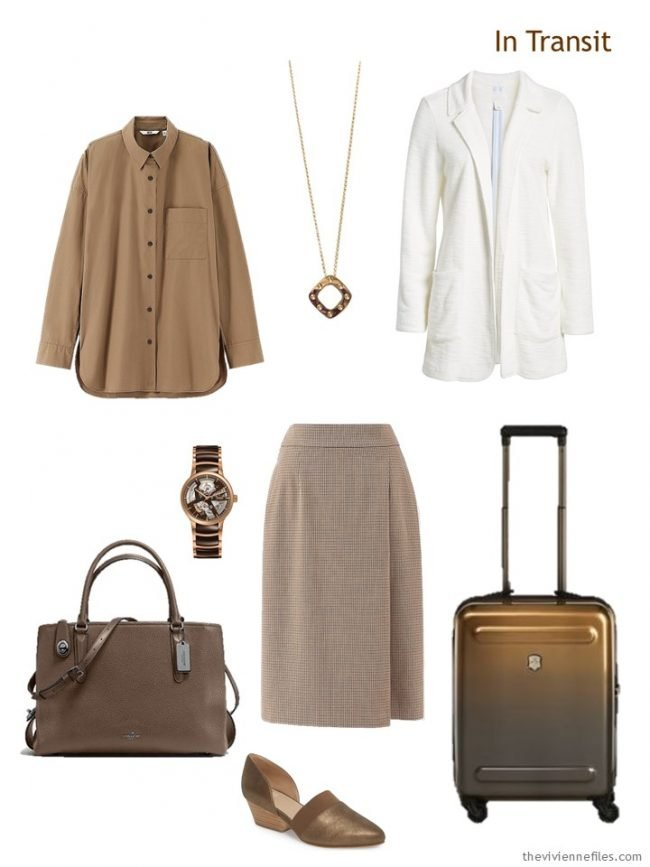 2. travel outfit in brown and ivory