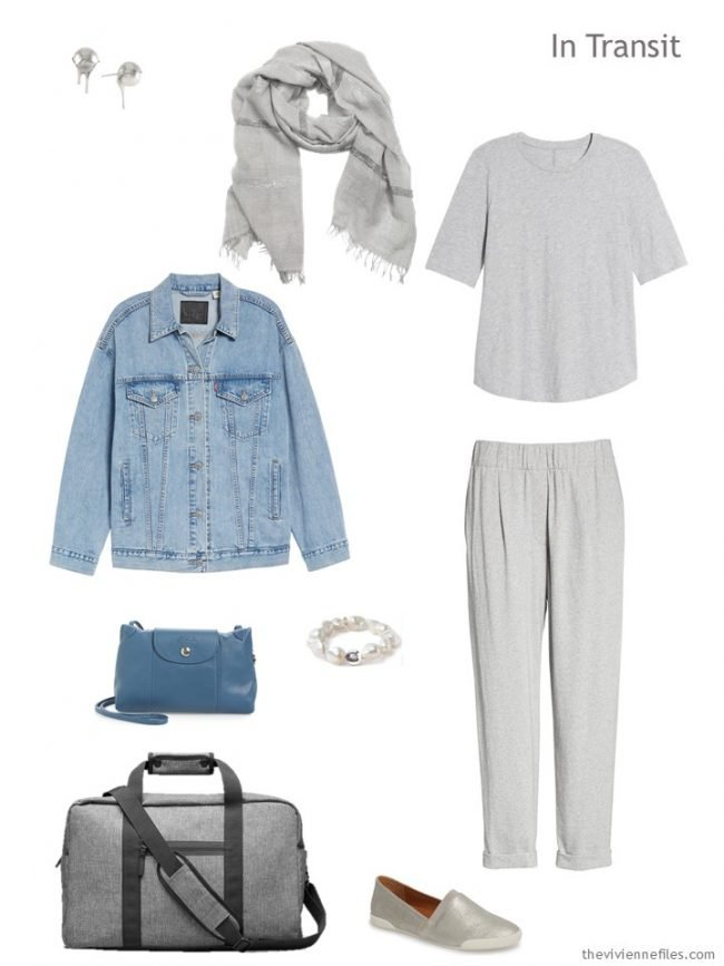 2. travel outfit in grey and denim