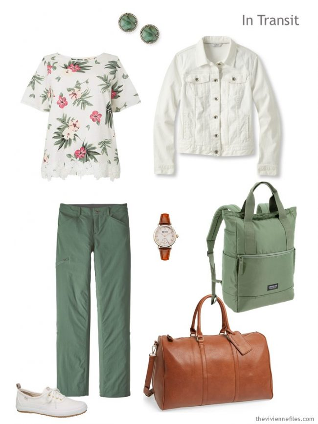 2. travel outfit in ivory and green