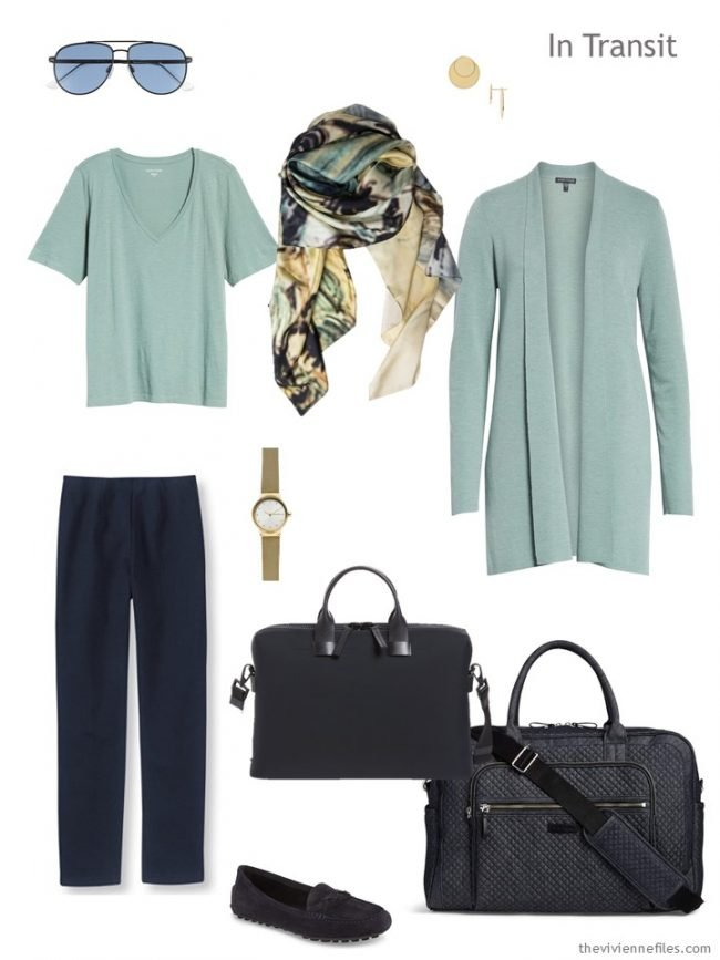 2. travel outfit in navy and soft green