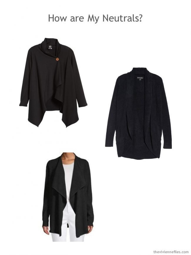 3. 3 black cardigans