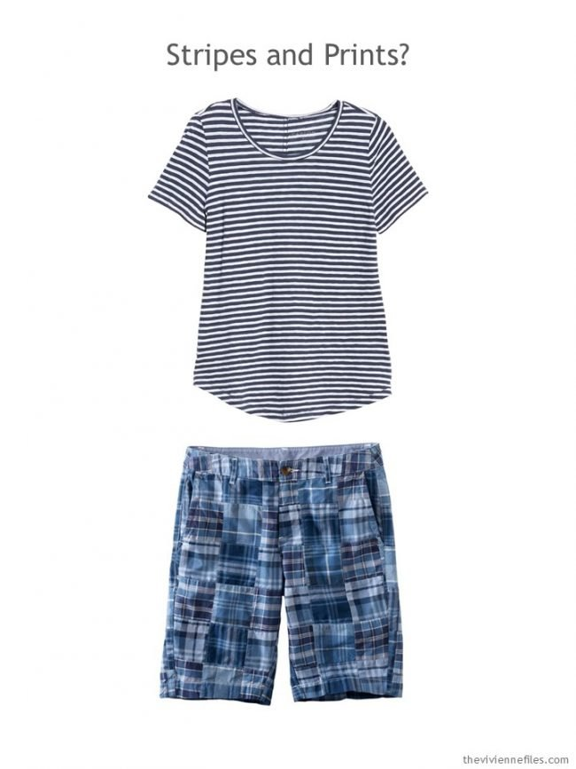 3. blue striped tee and blue patchwork shorts